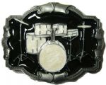Drum Set Belt Buckle (black/white) + display stand. Code JL7